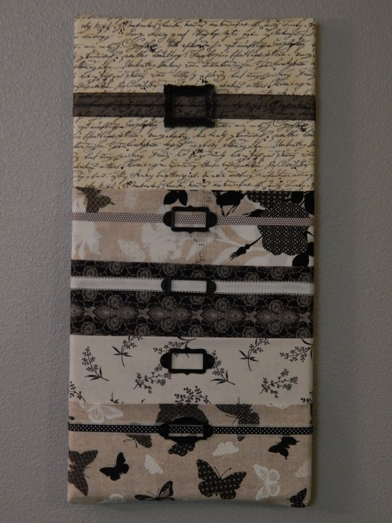 Fabric Wall Mail Organizer Mail Sorter Black White And Tan