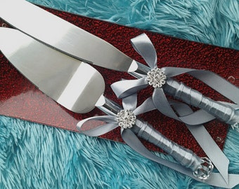 silver grey satin ribbon wedding cake server and knife set lot
