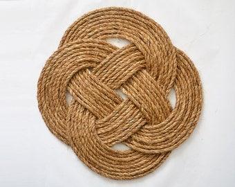 Celtic Knot Decorative Place Mat, Nautical Rustic Rope Table Mat, Beach Decor, Table Decoration, Large Dish Trivet