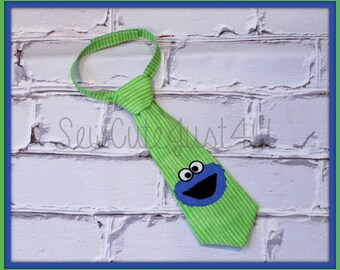 Cookie Monster Embroidered Little Man Tie