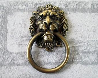 Lion Head Dresser Pull Knobs Drawer Knob Pulls Handles Drop Rings ...