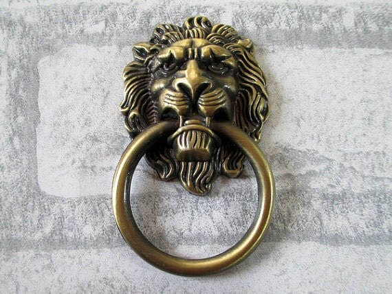 Large Lion Drawer Pull Knobs Handles Dresser Drop Pulls Rings