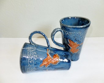 Tall Blue Hummingbird Ceramic Mug, Extra Large Victorian Coffee Cup
