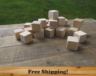 20 Wood Blocks (Pine), All Natural Unfinished or Finished, Sanded Edges, 1.5 Inch Square Wooden Block Set