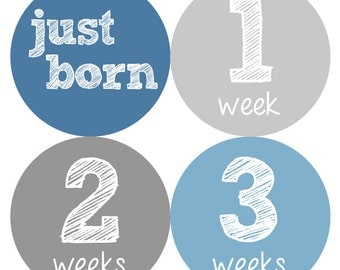 Newborn Baby Stickers, Baby Milestone Stickers, Baby Stickers, Baby Boy, Baby Shower Gift, Blue, Grey- NEWBORN SET