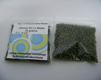 Toho 11/0 Round-Olivine Silver Lined Matte seed beads 37F