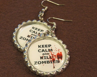 Zombie Bottle Cap Earrings