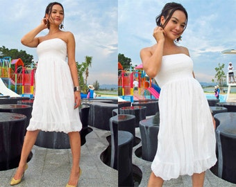 White chiffon short dress knee length one size All size