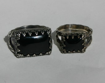 King and Queen Sterling Silver Black Onyx Ring Set, Black Onyx Ring set, Black Onyx