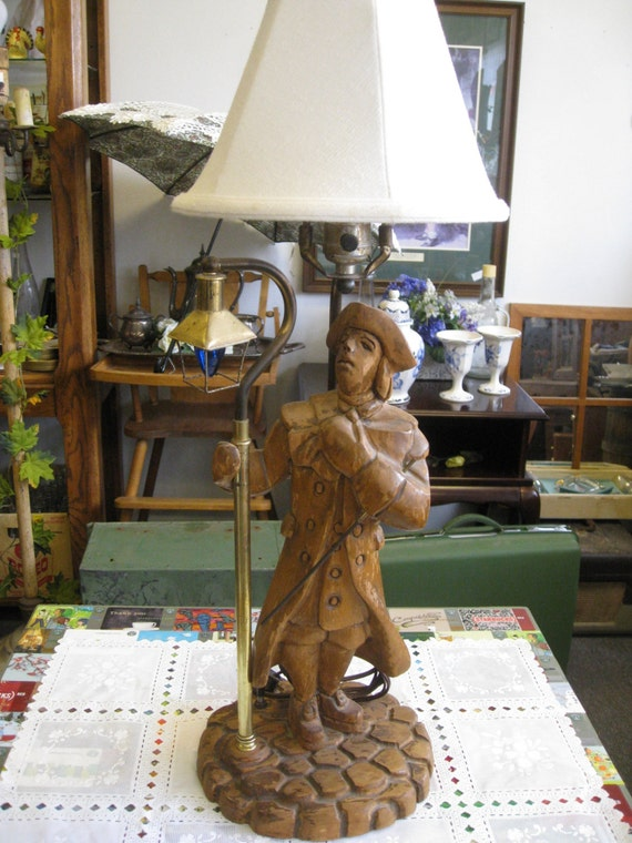 Vintage Unique Wood Carved Lamp Lighter Table Lamp