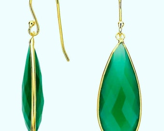 AAA natural green onyx and gold vermeil bezel earring, gold and green chalcedony earrings, green onyx and golg earringgold earring