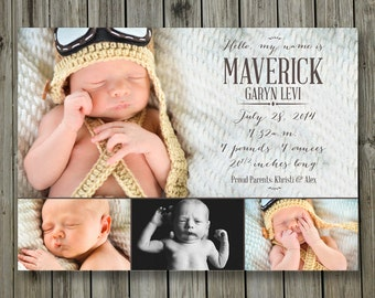 Baby Announcement Postcard - 5x7 - Hello my name is  - Print or Digital