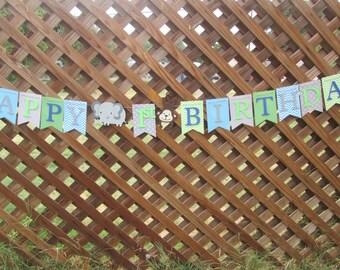 Jungle theme Happy Birthday banner, Birthday banner, 1st birthday banner, Birthday decorations