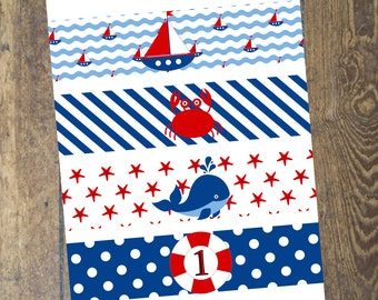 Nautical Water Bottle Label