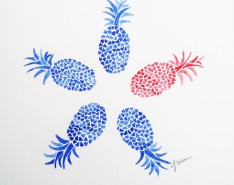Original Pineapple Watercolor Painting, Abstract Pineapple Art, Blue Pineapple, Pineapple Fruit, Painting Pineapple, Kids Wall Decor,