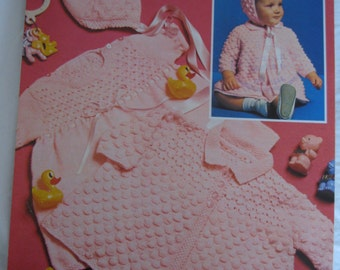 Vintage knitting pattern baby outfit matinee jacket bonnet and bootees