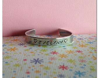 Personalised Baby/toddler/child bracelet cuff. Hypoallergenic aluminium, hand stamped jewellery