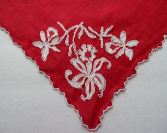 Vintage Women's Red Burgundy Linen Handkerchief Hankie Mid Century