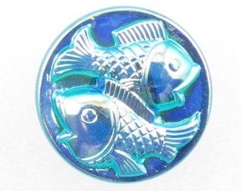 Czech Glass Buttons dark blue with silver 2 fish design 22mm PB1049