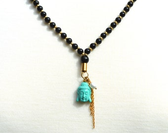 Black agate, czech glass, pearl and buddha charm necklace