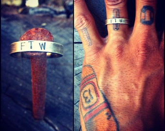 """Sterling Silver """"FTW"""" Ring"""