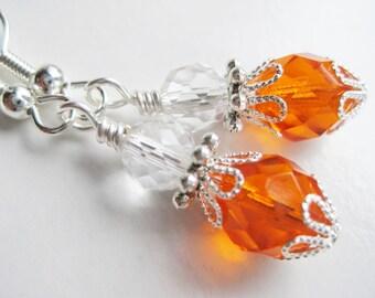 Orange dangle earrings, bright tangerine drops, glass bead, orange earings, orange wedding, handmade jewellery