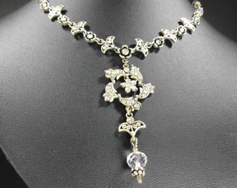 Rhinestone Necklace Flowers Vintage and New