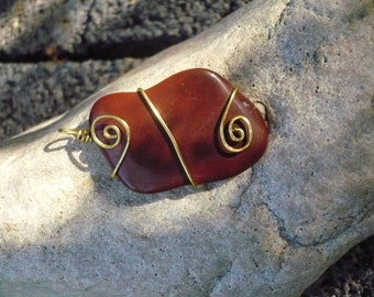 Polished Red Stone and Brass Wire Spiral Wrapped Pendant