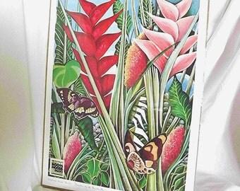 Vintage Art Print Canvas K Patrick Byles Caribbean Art Jamaican Artist Collectible Art Butterfly Art Print Canvas Art  Roots Moods Images