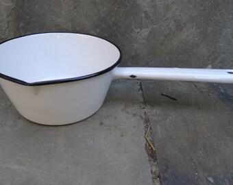 White enamel handled pot