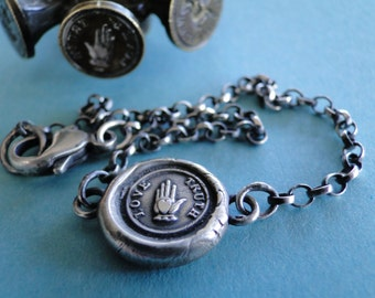 Antique Wax seal Amulet, bracelet, Love, Truth, various sizes, sterling silver.