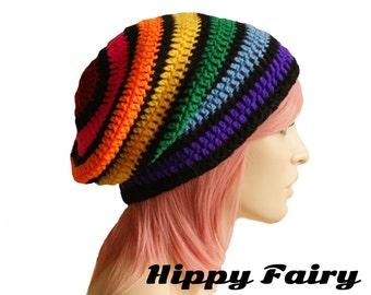 Rainbow beanie ,slouch beanie, Festival clothing, long beanie, festival hat, festival wear
