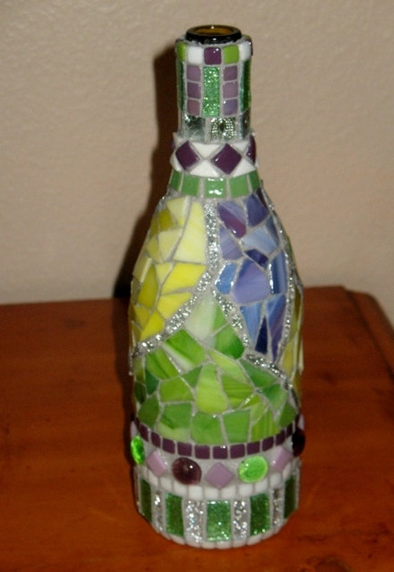 Mosaic Wine Bottle Decorative Bottle Art Sparkly Mirror