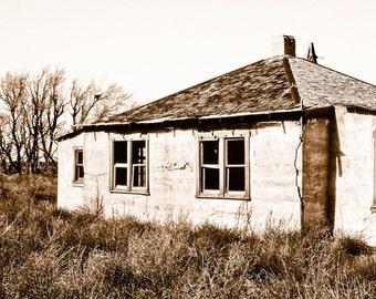 Fine Art Photography, prairie house, stucco homestead, hip roof, homestead, rustic, weathered house, primitive house, sepia, Fine Art Print