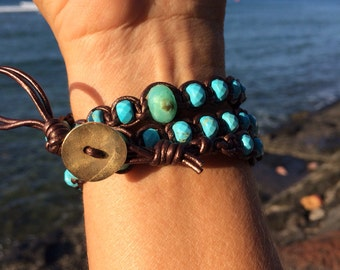 Triple leather wrap turquoise ,Peruvian opals and Tahitian pearls bracelet