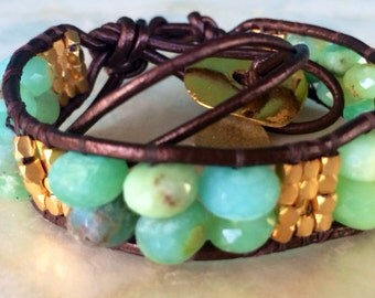 Peruvian opal and vermeil beads leather wrap bracelet