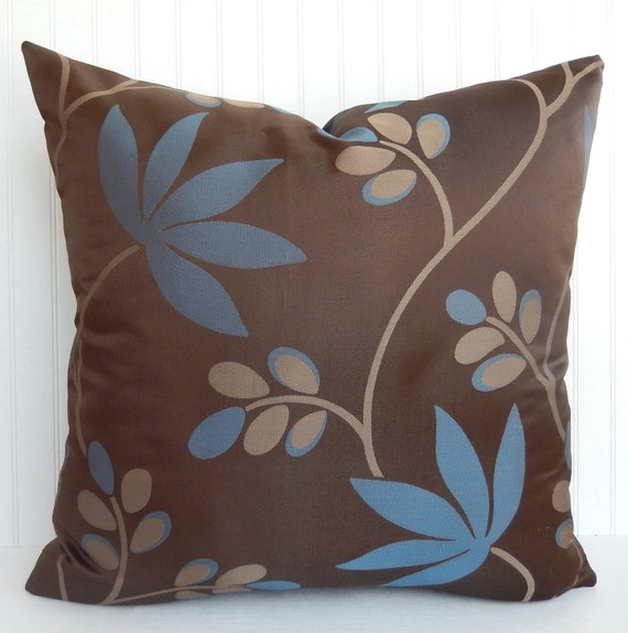 Blue and Brown Pillow Cover Throw Pillow Foliage Leaf