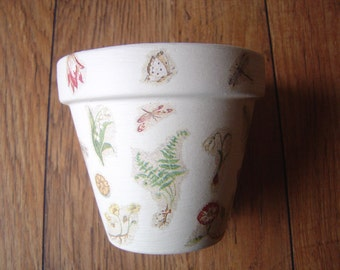 Hand Painted and Decoupaged Decorative Flower Pots ( Botanical Study 2 )