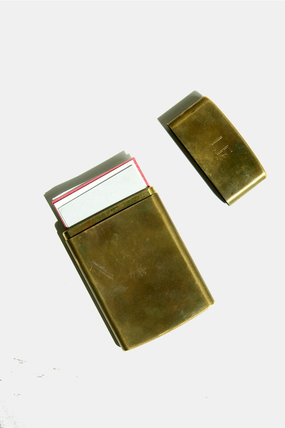 Vintage brass chas t kennedy no 9 cigarette case by pieceshop for Vintage business card case
