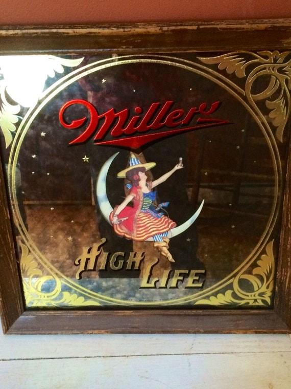 Vintage Miller High Life Beer Mirror