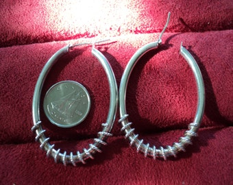 Vintage Sterling Silver Rope Wrapped Oval 8.8g Hoop Earrings (286)