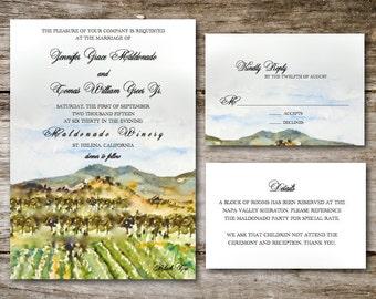 Sample Vineyard Wedding Invitations // Watercolor Wedding Invites // California Wedding Invites // Ranch Wedding