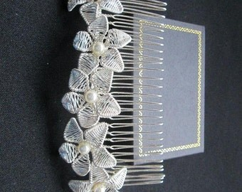 Larger Handcrafted Floral Bridal Hair Comb with Swarovski  Pearls.