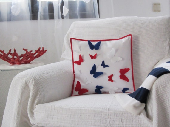 Red and blue butterflies' decorative pillow by Ema's Corner