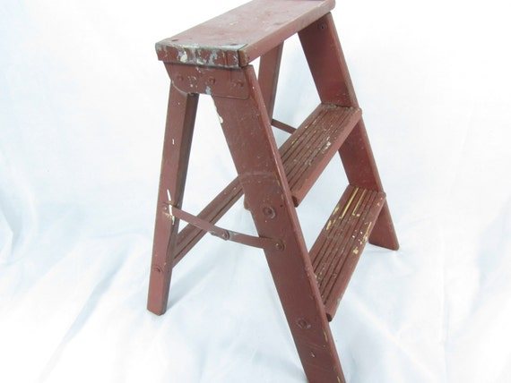 Vintage Wood Step Ladder Small Wood Ladder Kitchen Stool