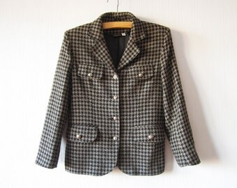 Houndstooth Jacket Brown Black Womens Wool blend Blazer Lion Head Buttons