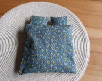 Two pillows and a matching coverlet in 12th scale
