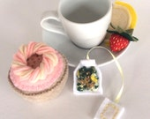 Felt Food: Tea Set -- Felt Strawberry Banana Cupcake, Yellow Tea Bag, Lemon and Strawberry, children's pretend play, tea set, or gift