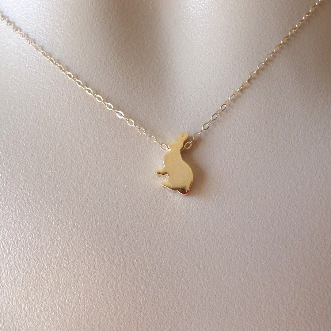 Rabbit necklace 14k gold filled necklace gold rabbit for Gold filled jewelry