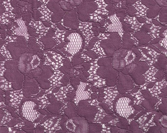 Plum Chic Pattern Vintage Cotton Floral Lace Fabric by the Yard, Wedding Lace Fabric, Bridal Lace Fabric - 1 Yard Style 163